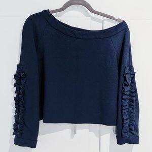Zara ruffle sleeve off the shoulder crop top
